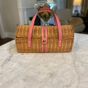 VINTAGE KATE SPADE STRAW  BAG  WITH PINK LEATHER💗